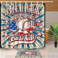 Baseball Sport Decorative Waterproof Fabric Bathroom Shower Curtains Sets WTS041