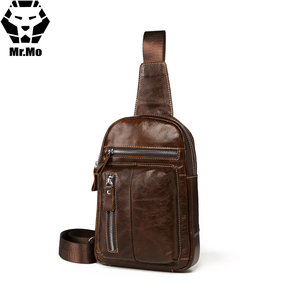 2018 Brand Men Cowhide Genuine Leather Chest Bag Business Messenger Bag High Quality Mens Small Crossbody Shoulder Zipper Bag