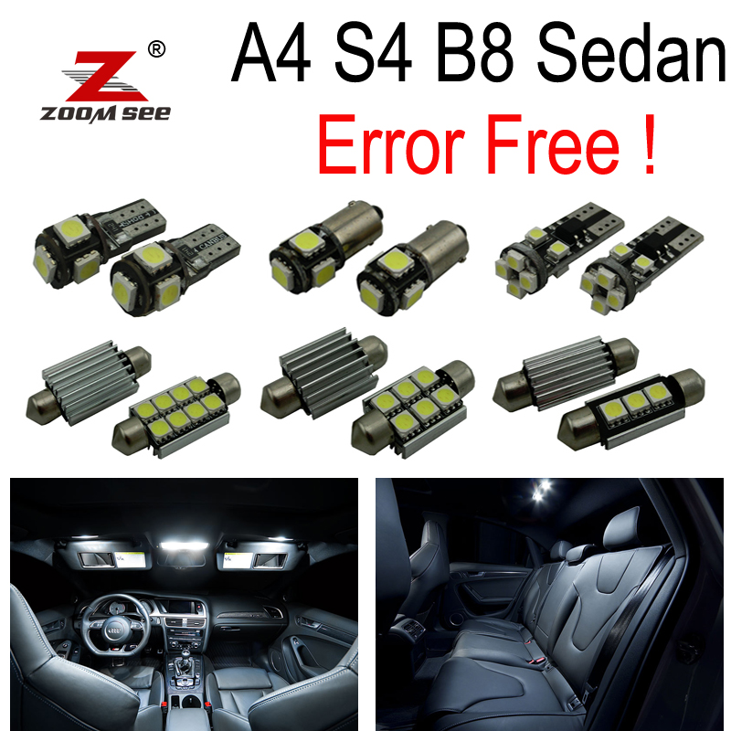 цена на 17pcs Error Free LED Bulb for Audi A4 S4 RS4 B8 Quattro Sedan Interior dome map Light Kit + License plate lamp (2009-2015)