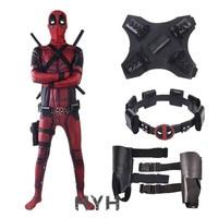Deadpool 2 Costume Adult Man Spandex Lycra Zentai Bodysuit Halloween Cosplay Suit Belt Headwear Mask Sword holster