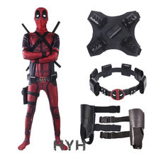 Deadpool 2 Costume Adult Man Spandex Lycra Zentai Bodysuit Halloween Cosplay Suit Belt Headwear Mask Sword holster(China)