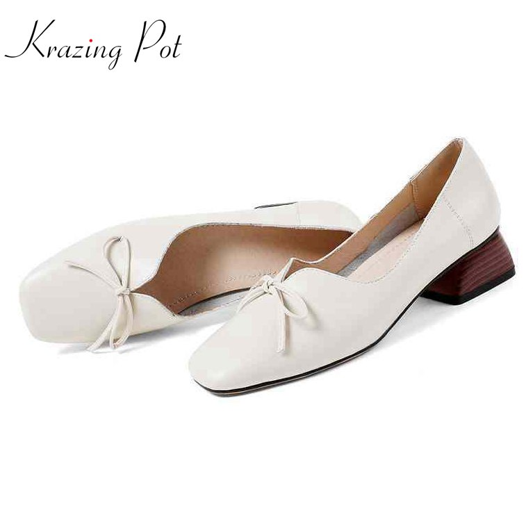 Krazing pot 2018 fashion women brand shoes square med heels bowtie cow leather solid slip on women pumps pregnant shoes L68 krazing pot fashion brand shoes genuine leather slip on pointed toe concise lazy style strange high heels women cozy pumps l73