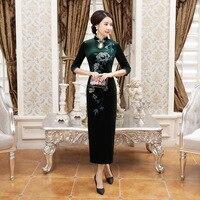 높은 품질 녹색 중국 여성의 벨벳 Qipao 우아한 긴 슬림 치파오 봄 캐주얼 드레스 Sml XL XXL XXXL 4XL T0044