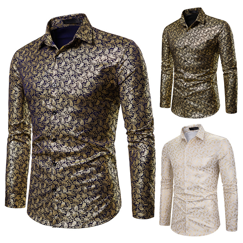 2019 fashion Men Golden Coated shiny Printed Long Sleeve Business dress Shirt Night club party Singer stage Wedding show Shirt(China)