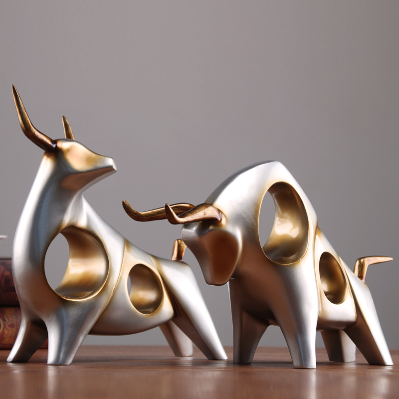 Creative cattle statue ox home decor living room Sculpture gradevin wine TV cabinet ornament crafts Abstract