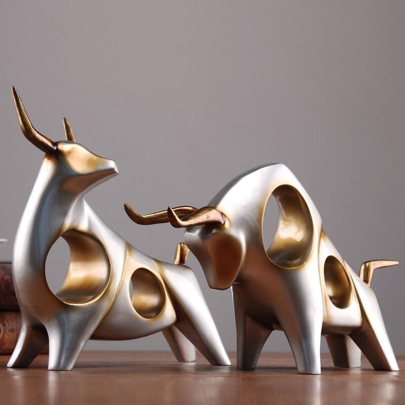 Criativo estátua gado boi Escultura casa decoração sala de estar TV vinho gabinete gradevin ornamento artesanato Abstrato animal estatueta