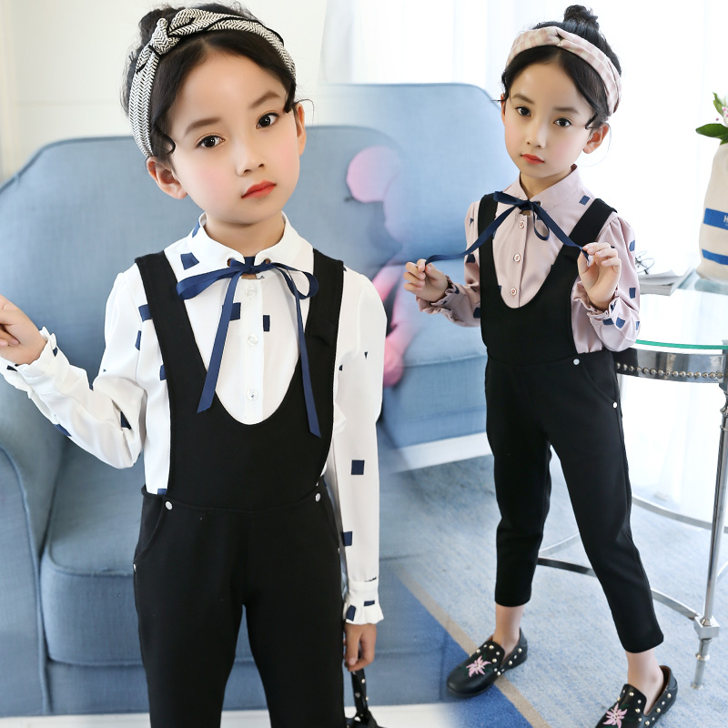 Children Clothing Spring Autumn Girls Clothes T-shirt+ Overall Pants 2pcs Kids Clothes Girls Sport Suits For Girls Clothing Sets kids clothing sets for girls clothes suits 2017 spring children casual long sleeve t shirt overalls sport baby clothes set 5 13y