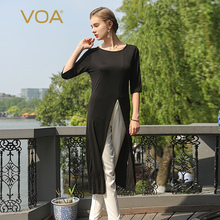 VOA Spring New 2017 Women Long Slit Silk knitted Sweater Female Fashion Black Half Sleeve O-Neck Pullovers Thin B5160