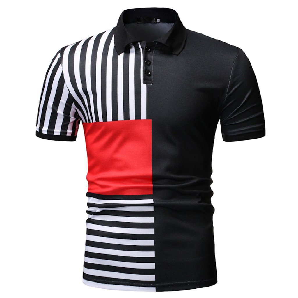 Polo Shirt Men 2019 Camisa Polos Masculina Stripe Turn Down Collar Pullover Short Sleeve Men Polo Shirt Top Brand Clothing in Polo from Men 39 s Clothing