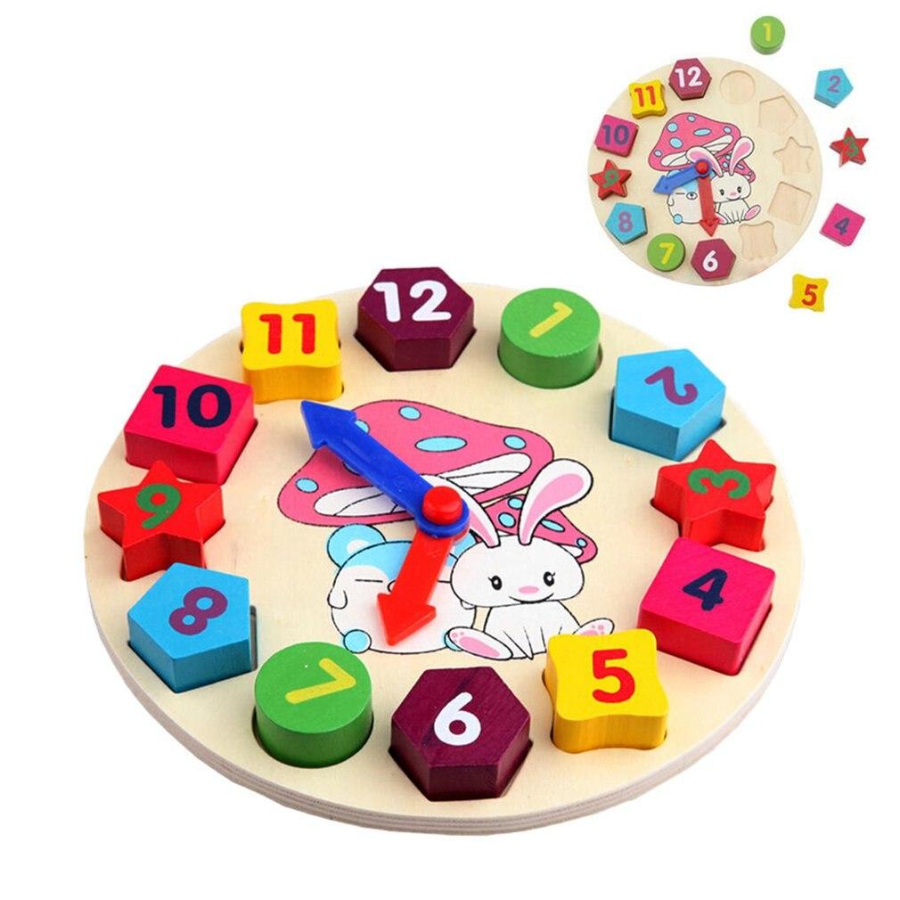1 Pcs Nieuwe Baby Kinderen Houten Cartoon Konijn Klok Educatief Houten Blokken Puzzel Geometrische Vorm Match Kinderen Speelgoed Aangenaam Om Te Proeven