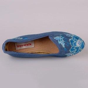 Image 4 - Veowalk מחודדת הבוהן נשים נעלי דירות פרחוני רקמת נוח ישן פקין בעבודת יד בלרינות Sapato Feminino