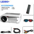 86 + LED Mini Proyector Full HD 5500 Lúmenes 1280x800 Píxeles red blue 3D Home TV Reproductor Multimedia Portátil de Cine En Casa Proyector