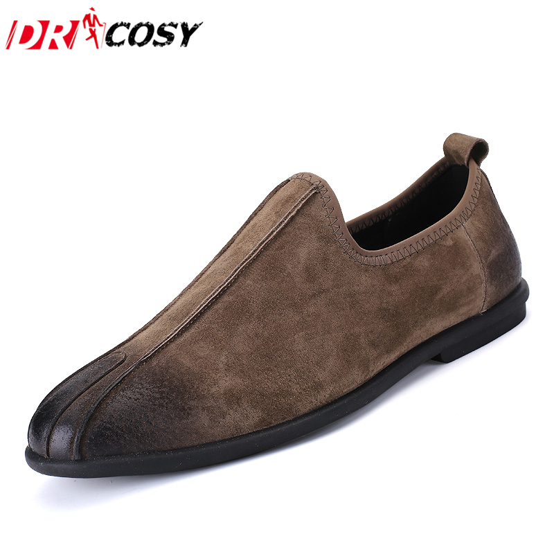 Spring/Autumn New Arrival Pig Suede Leather Men Shoes British Style Fashion Vintage Men Dress Shoes Slip-on Casual Flat Shoes
