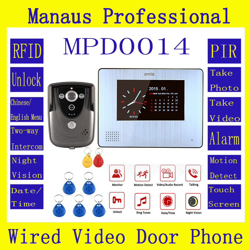 7Color Touch Screen Video Door Phone with PIR Record intercom System RFID Keyfob IR Camera max to support 32G SD card D14a