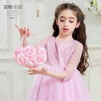 Children Bags Baby Flower Girls Princess Handbag Kids Birthday Party Performance Accessories Satin Rose Zipper Coin
