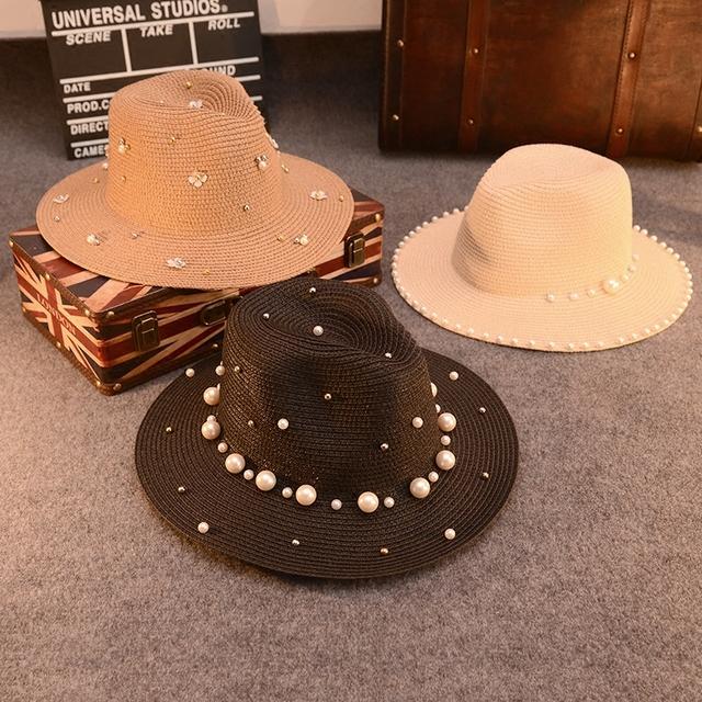2016 Nueva Versión Caliente De la Perla de Cuentas de Sombreros de Verano Para Mujeres señora Caps Parasol Cap Jazz Playa Sombrero Chapeu Feminino Bloqueador solar sombrero