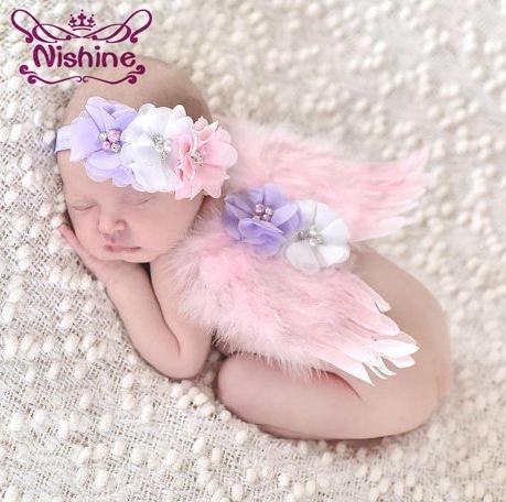 Nishine Cute Newborn Angel Feather Wings With Chiffon Flower Headband Set Photo Prop Girls Children   Headwear   Accessories