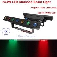 4Pcs/Lot New Arrival 7X3W RGBW 4 Colors Led Strobe Lights IP20 Indoor LED Bar Beam Effect Lights 100 240V DHL/Fedex Ship