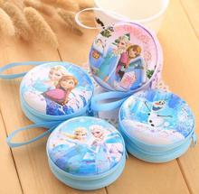 hot sale cartoon coin purse Elsa Anna princess girls key case wallet children snow queen headset bag coin bag