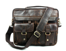 Vintage real genuine leather men messenger bags cow leather portfolios briefcase business men travel bags shoulder