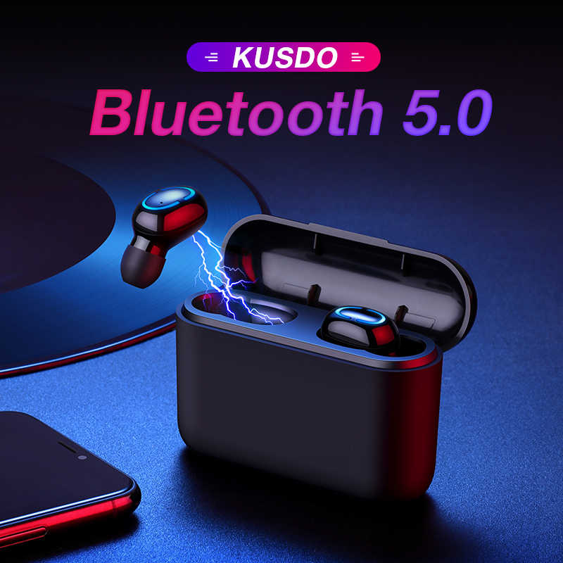 KUSDO Bluetooth Earphone Headphones Wireless Earbuds tws Stereo Sport Gaming Headset Handsfree For All Smart Phone Xiaomi iPhone