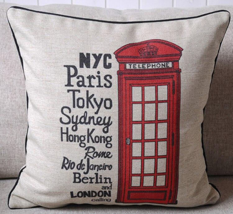 New Modern Telephone Booth Pop Cities NYC Paris London Art Decorative Pillow Case Cushion Cover Sham цены онлайн