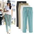 Woman clothing loose pants black Elastic waistline ankle length trousers 100% cotton casual harem pants plus size 5XL 6XL Mujer