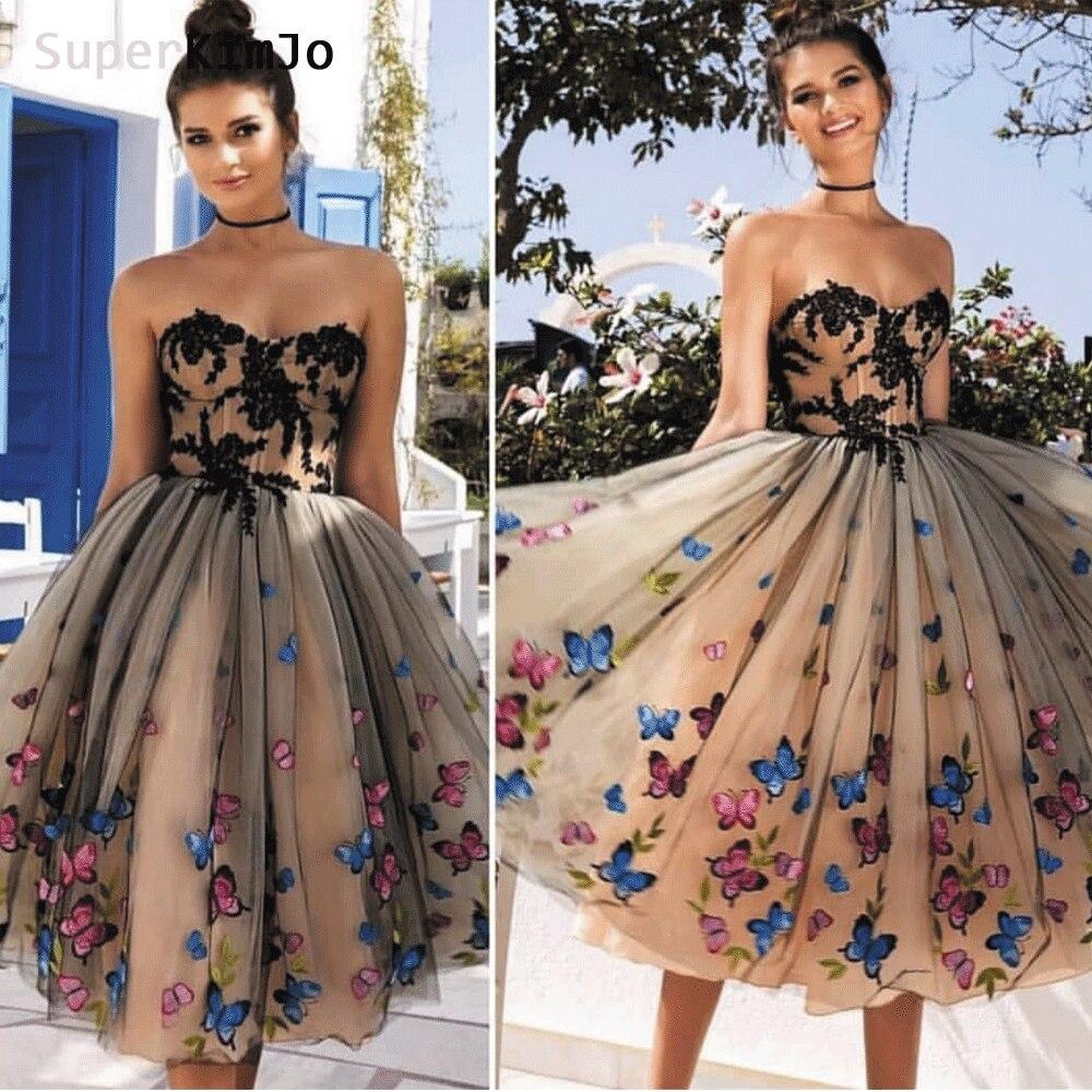 SuperKimJo 2019 Vestido De Graduacion Black Lace Applique Homecoming Dresses Short 3D Flowers Cheap Graduation Dresses
