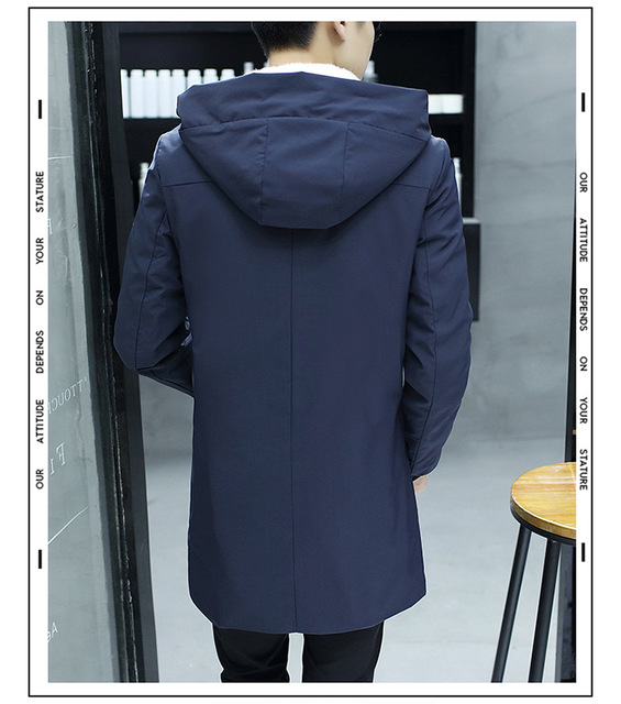 Autumn and winter new men's long section Korean version of the self-cultivation casual windbreaker  cotton coat