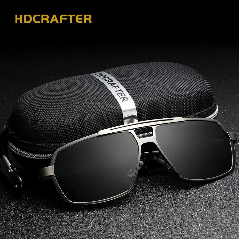 Rectangle lunettes de soleil hommes polarisés UV400 haute qualité lunettes de soleil pour homme marque concepteur métal conduite lunettes gafas de sol