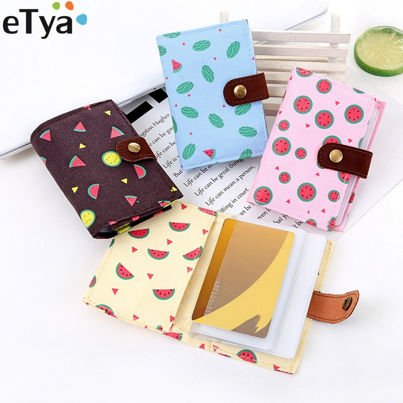 Cartoon Cute Fruit Women Ladies Travel Credit Card Holder Bag Canvas PVC Fresh ID Passport Card Business Card Wallet Purse cartoon sofia travel passport cover bag cute hello kitty credit card id holders men women card holder high quality