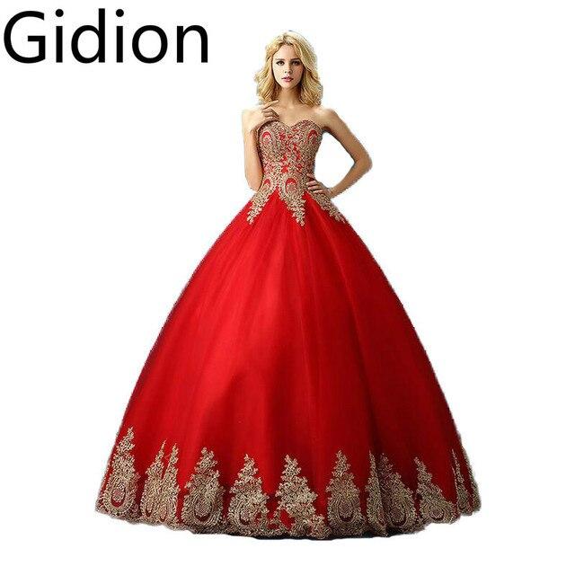 Vestido De Novia rojo con oro apliques de encaje balón vestido de ...