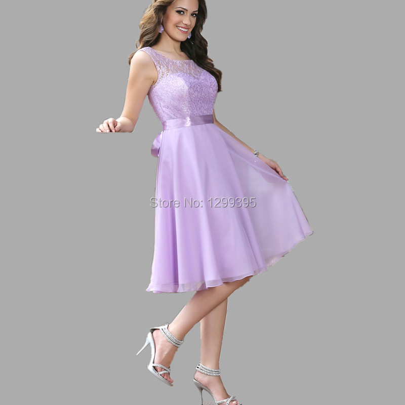 Light Purple Lilac Lavender Short Bridesmaid Dress with Sash Lace ...