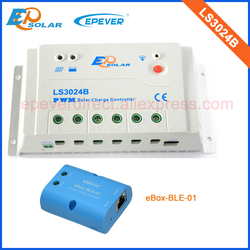 Solar PWM 30A LS3024B panel charger controller with the BLE funciton box for mobile phone use 12v 24v