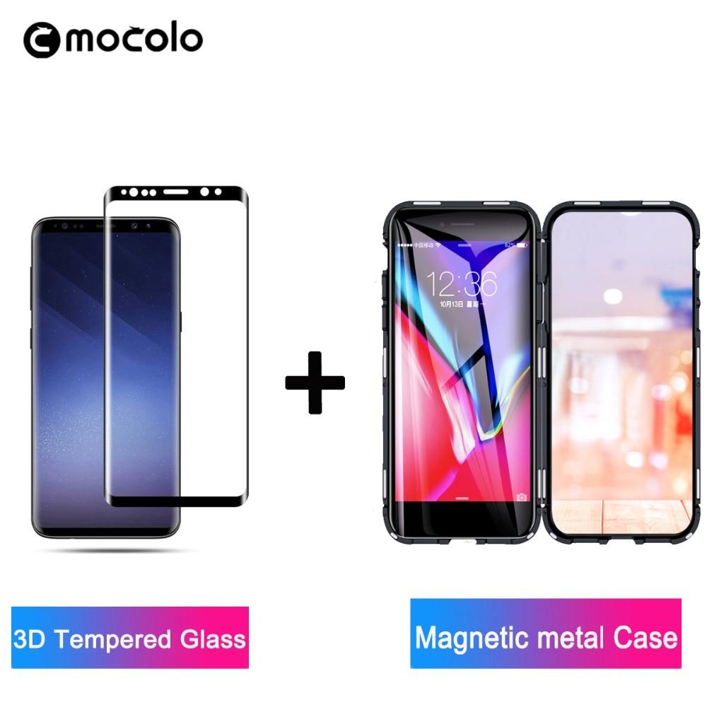 Mocolo Vidro Prémio para Samsung Galaxy S8 3D S9 Além de Protetor de Tela do Filme de Vidro para a Nota 8 9 Vidro Temperado magnético metalCase