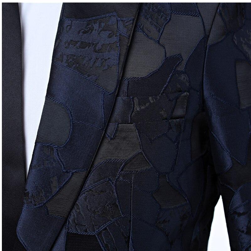 New men's dress suit jacket Navy pattern men's jacket cut lapel One button's grace banquet formal men's jacket suit custom - 5