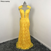 Yellow Lace Long Fitted Prom Dress Elegant Vestido De Festa Mermaid Long Party Dresses Sleeveless Vestidos