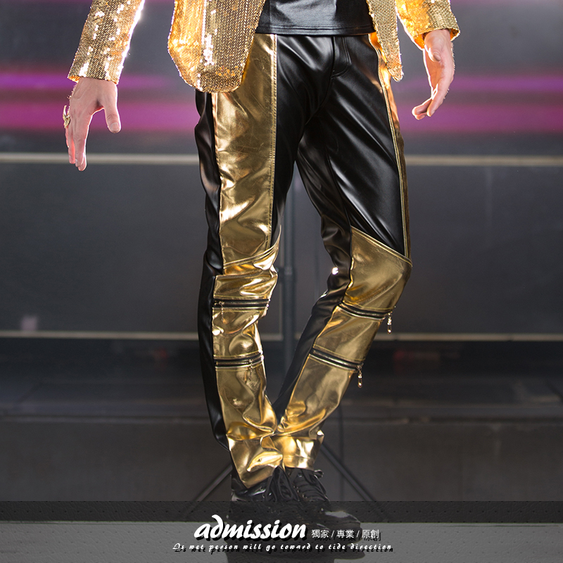 2015 NightClub rock DJ Male Singer fashion locomotive patcgwork leather pants Party show dancer stage costumes pants outfit