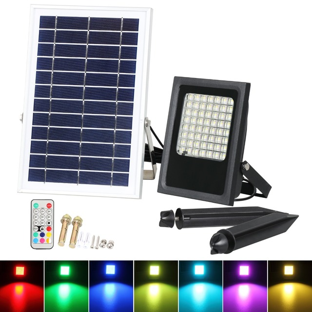 T Sun 50w Colour Changing Led Outdoor Security Floodlight Ip65 Remote Control Dimmable Solar Flood