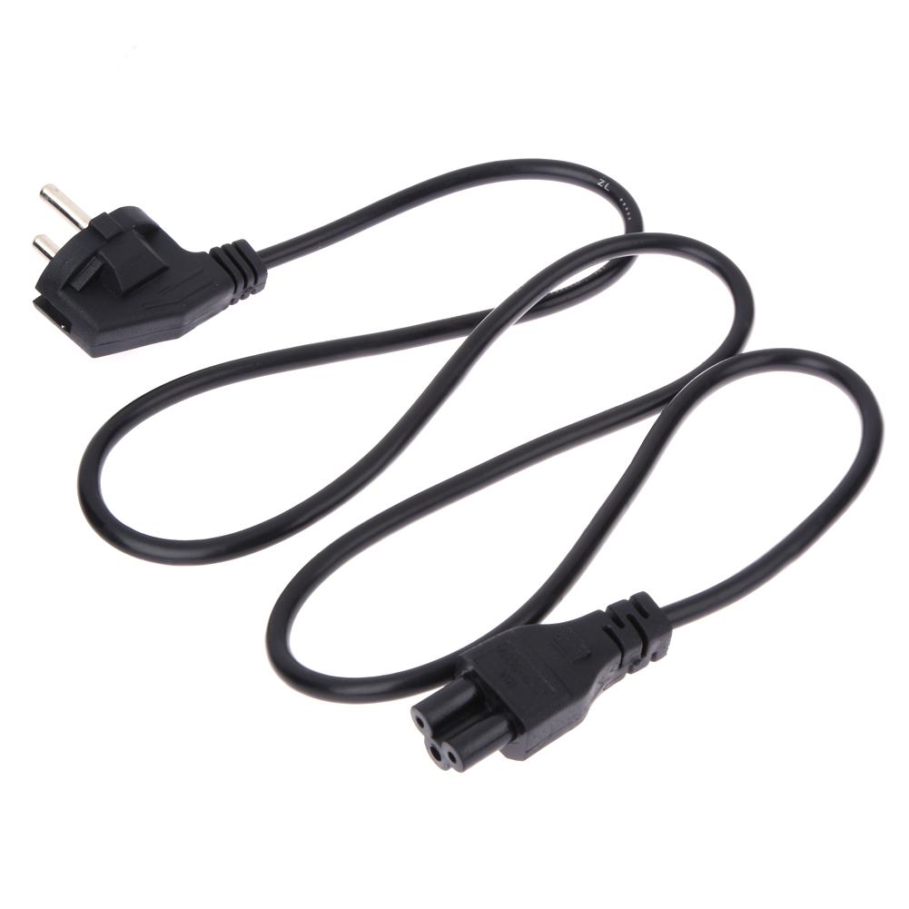 Universal 1M EU 3 Prong 2 Pin AC Laptop Power Cord Adapter Cable Black