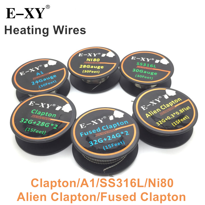 E-XY A1 SS316L Ni80 Alien Fused Clapton Resistance Heating Wire DIY Coil For RDA RTA RDTA Electronic Cigarette Vape Atomizer original geekvape 6 in 1 coil pack for diy atomizer alien alpha braid fused clapton tidal coil rda rta rdta atomizer coil