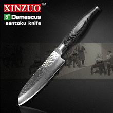 2016 XINZUO 5″ inches santoku knife 73 layers Damascus kitchen knife fruit japan VG10 chef knife Color wood handle free shipping