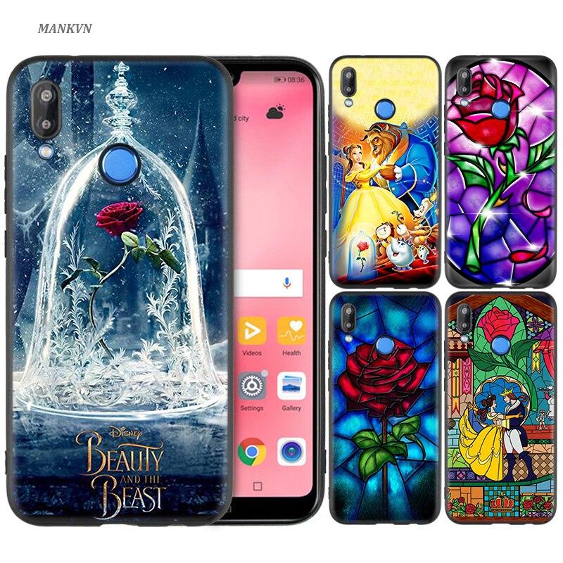 Tampa Da Caixa Do Silicone para Huawei P20 P10 P9 P8 Lite Pro 2017 p Telefone Inteligente + 2019 Nova 3i 3E casos de A Bela Ea Fera anime amor
