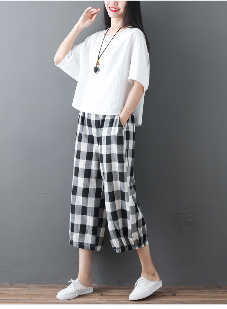 2019 Cotton Linen Two Piece Sets Women Plus Size Half Sleeve Tops And Wide Leg Cropped Pants Casual Vintage Women's Sets Suits 61