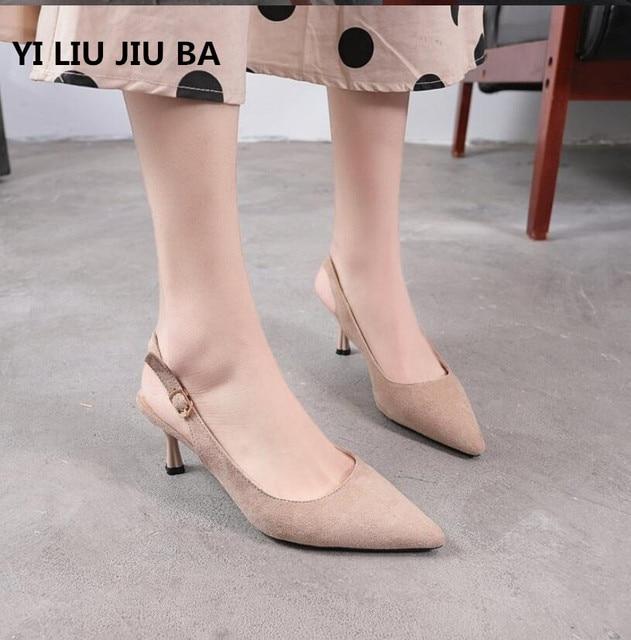 f4fef2e6b96a 2019 классические весенние женские туфли Босоножки с открытым носом на  каблуке с ...