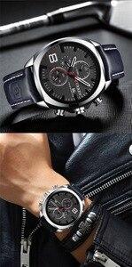 Image 4 - CURREN reloj deportivo para hombre, resistente al agua, con cronógrafo, militar, de cuero, 8324