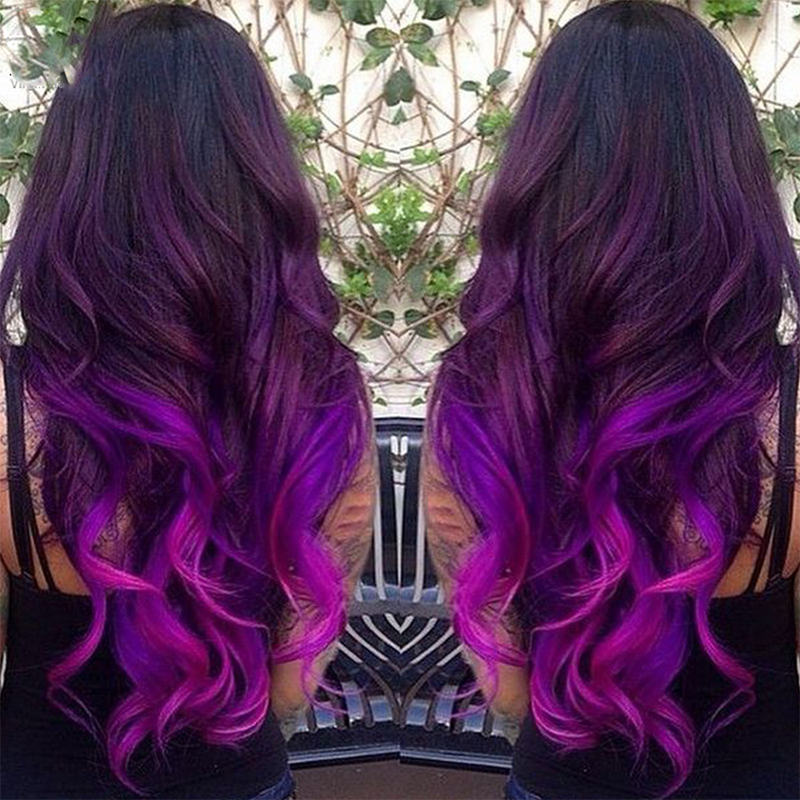 8a Purple Ombre Hair Extension Two Tone Color Ombre Brazilian Body