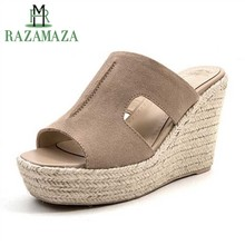 ZALAVOR Women Wedges Sandals Real Leather Chunky Heels Platform Shoes Women Bohemia Style Open Toe Summer Slipper Size 34-39(China)