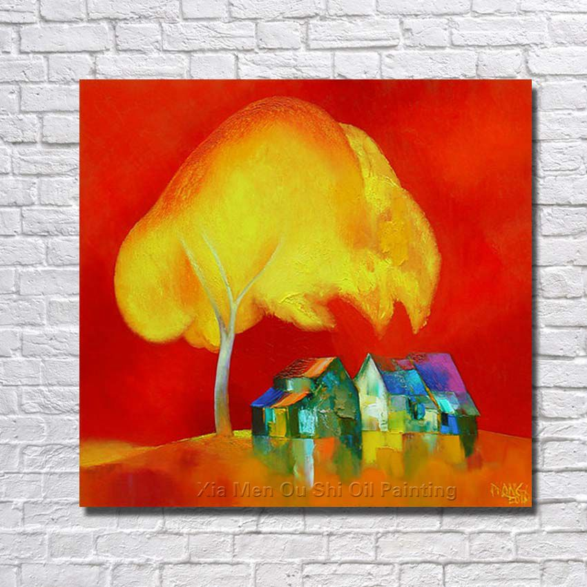Free shipping wholesale cheap ba oil paintings yellow big for Oil paintings for the home