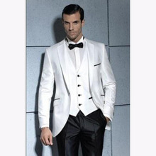 Latest Design white Mens Party Prom Suit 3 piece Groom Tuxedo Groomsmen Wedding Blazer Suits for men 2017 (Jackets+Pants+Vest)